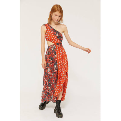 Urban Outfitters Mixed Printed One-Shoulder Maxi Dress M
