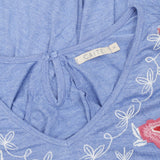Caite Floral Embroidered Blue Blouse Top S