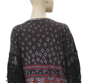 Free People Printed Fringes Lace Blouse Top L