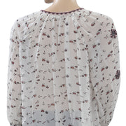 Ulla Johnson Lida Gardenia Blouse Top Floral Printed Embroidered S