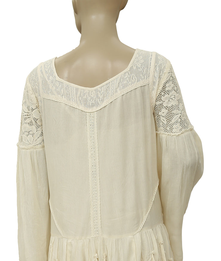Free People Shipwreck Cove Lace Fringed Ivory Dress M