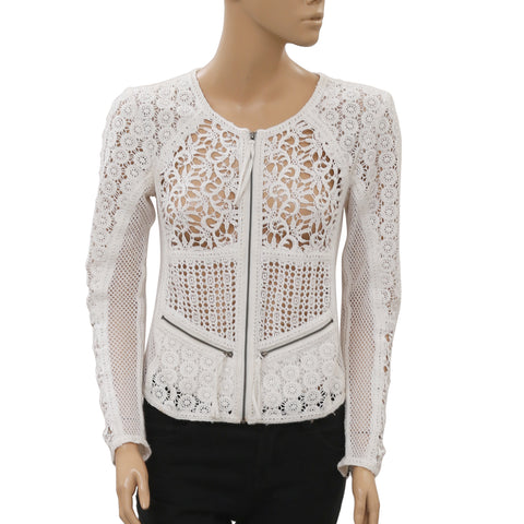 Yoana Baraschi Anthropologie Daytona Crochet White Moto Jacket Top S New