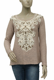 Meadow Rue Anthropologie Rococo Pullover Embellished Blouse Top M NWT