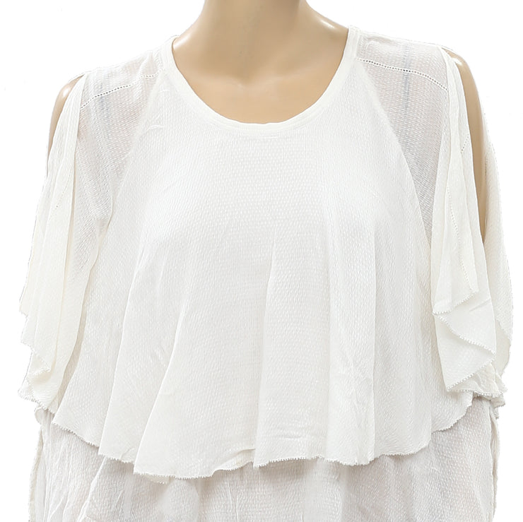 IRO Karlef Solid White Blouse Top S-36 NWT