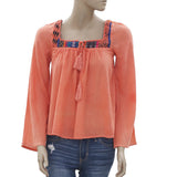 New Billabong Embroidered Tie Knot Square Neck Coral Blouse Top XS