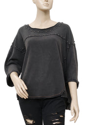 Free People Dillon Studded Tee Black Blouse Top L