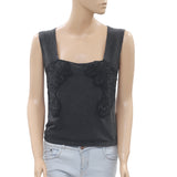 Free People Embroidered Black Blouse Tank Top Embellished Back Tie S
