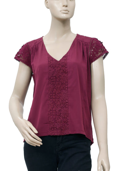 Meadow Rue Anthropologie Crochet Lace Plum Blouse Top Small SP