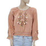 Odd Molly Remix Embroidered Tan Boho Causal Blouse Top M