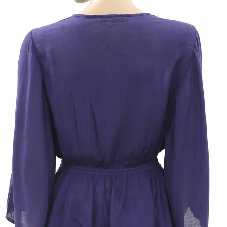 Jachs Girlfriend Embroidered Purple Tunic Top S NWT