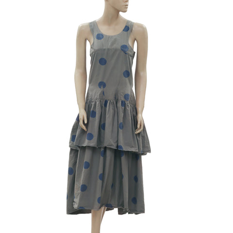 New Ewa I Walla Peasant Lagenlook Vintage Polka Dot Printed Midi Dress S
