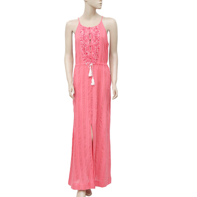 Lucky Brand Embroidered Sleeveless Coral Long Maxi Dress  M