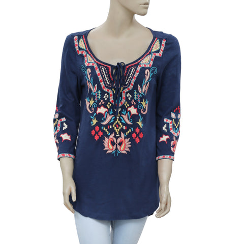 Soft Surroundings Floral Embroidered Tie Casual Navy Tunic Top S 6