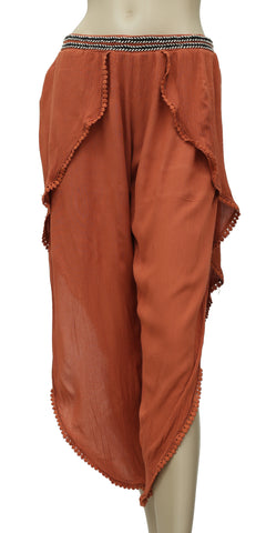 Free People Lace Long slit Rust Pajama Pant S