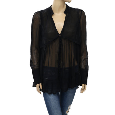 Free People Black Buttondown Sheer Tunic Top S