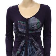 Desigual Plaid Printed Blouse Top XS