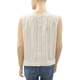 Leo & Sage Striped Printed Blouse Top Buttondown Beige L