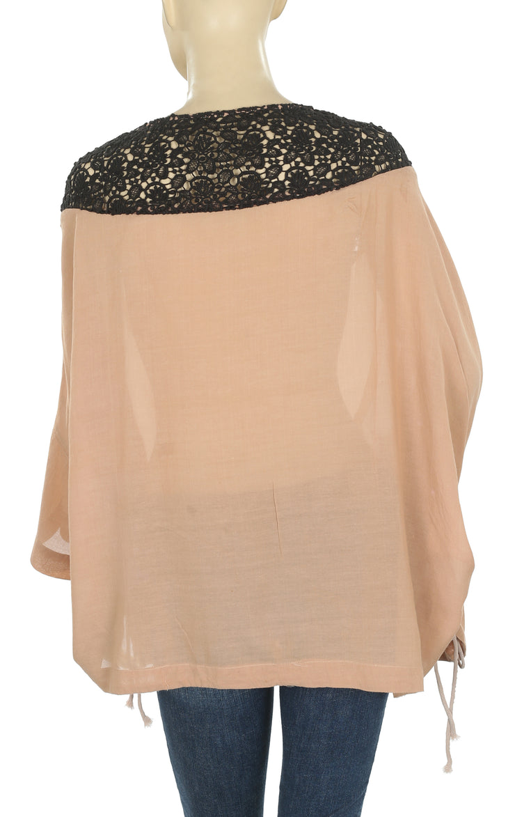 White Chocolate Crochet Trimmed Kimono Brown Poncho Tunic Top L