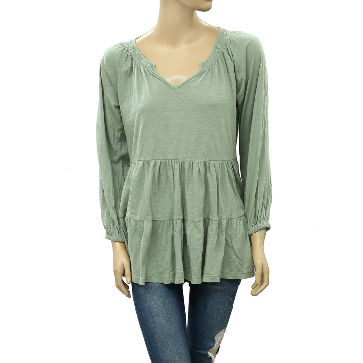 Maeve Anthropologie Isola Tiered Babydoll Blouse Top S