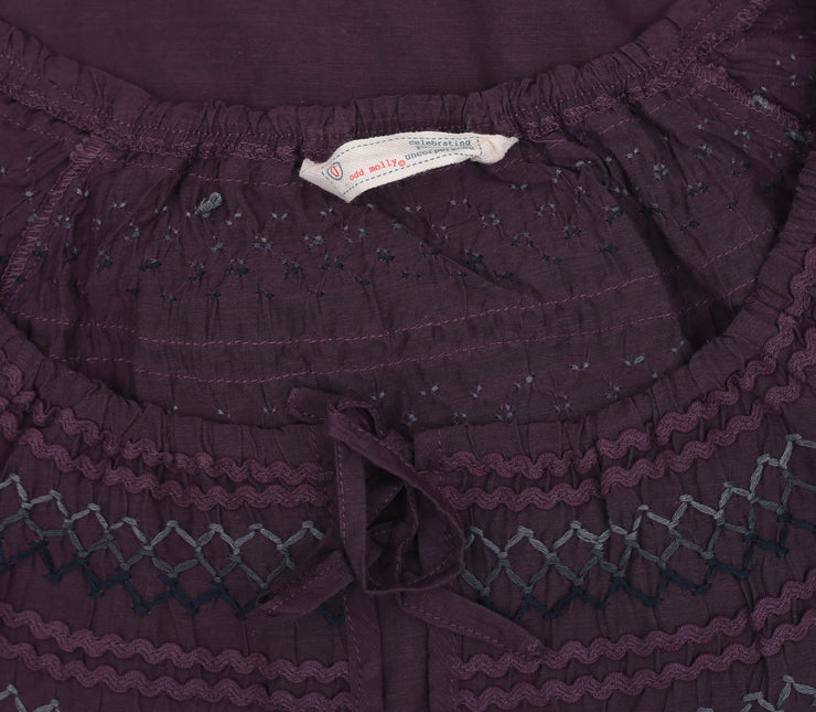 Odd Molly Embroidered Lace Plum Blouse Top XS 0