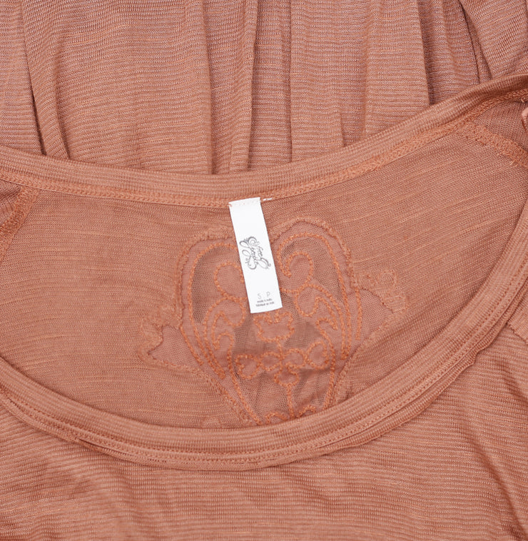 Free People Embroidered Patchwork Brown Top S