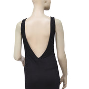 Out From Under Lace Me Up Sleeveless Black Maxi Slip Dress Medium M