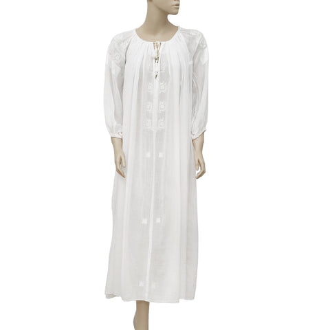 Isabel Marant Etolie Embroidered White Maxi Dress S 36