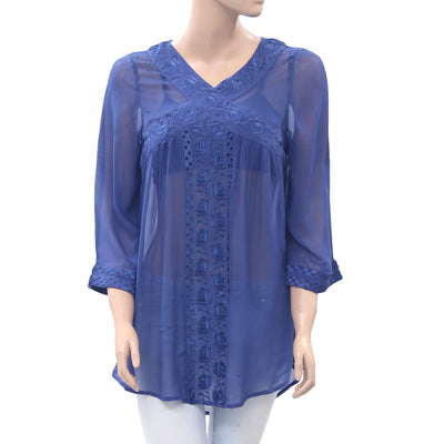 Anthropologie Rose Embroidered Tunic Top Eyelet Sheer Boho Blue XS