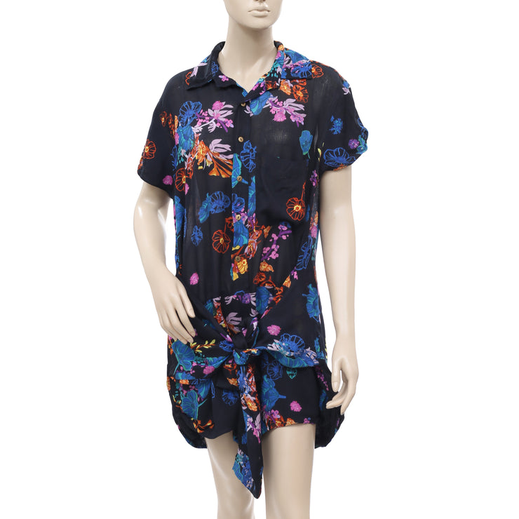 Free People FP One Graphic Poppy Floral Black Romper Dress M