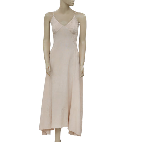 Free People Endless Summer Smocked Cutout Casual Beige Midi Dress XS