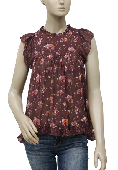 Ulla Johnson Embroidered Floral Silk Blouse Top XS 2