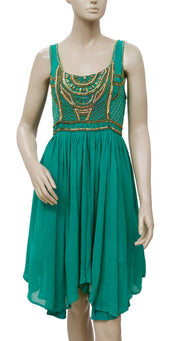 Free People Embellished Embroidered Green Tunic S