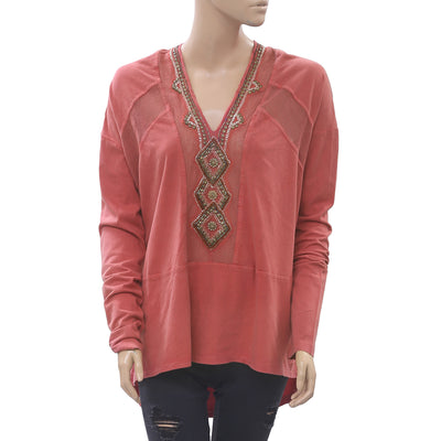 Free People Focus On Center Embellished Tunic Top Beaded Red Boho S