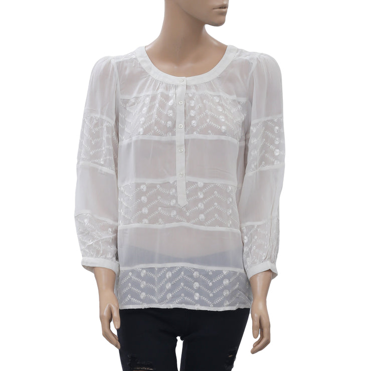 Staring At Star Anthropologie Embroidered Blouse Top Sheer Ivory M