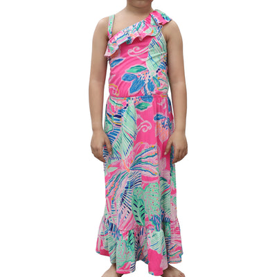 Lilly Pulitzer Kids Girls Octavia One-Shoulder Maxi Dress 4-5 Years