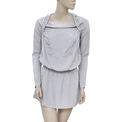 White Chocolate Stone Embellished Long Sleeve Gray Tunic Dress S