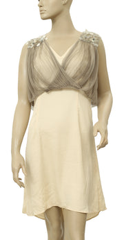 Hoss Intropia Anthropologie Piedra Stone Embellished Beige Dress S 6