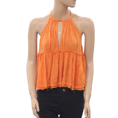 Free People Ruffle Blouse Tank Top Halter Summer Orange Boho XS