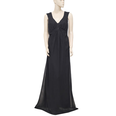 White Chocolate V Neck Black Gown Maxi Dress Small S