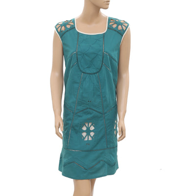 Anthropologie Cutout Embroidered Lace Green Mini Dress Medium M