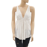 White Chocolate Ivory Blouse Top Smocked Strapless Summer Tank XS New