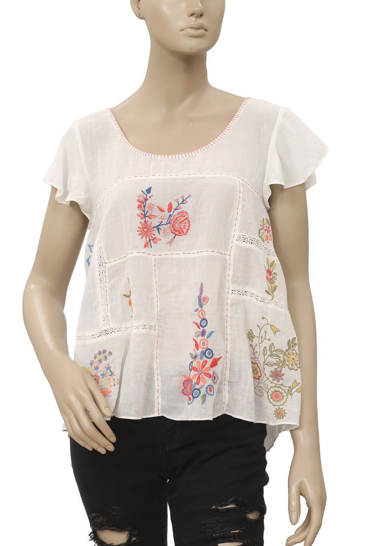 Free People Floral Embroidered  White Top S