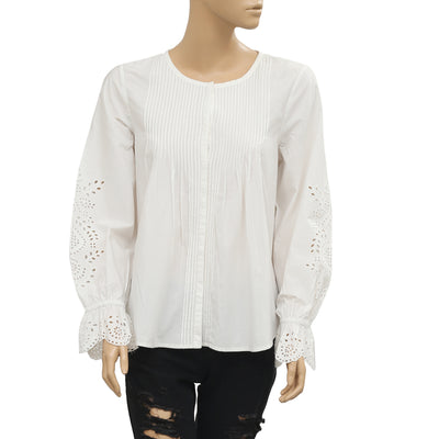 Ulla Johnson White Blouse Top Eyelet Embroidered Buttondown Medium M