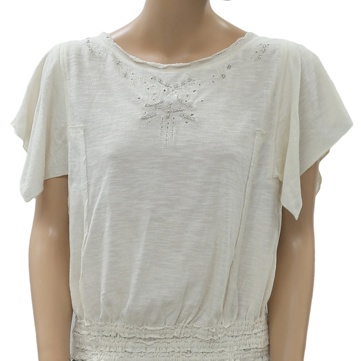 Free People 'Easy Does It' Embellished Smock Waist Tee Blouse Top L