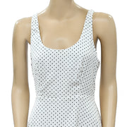 Zara Basic Polka Printed White Mini Dress XS New