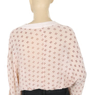 Free People Printed Embellished Peach Blouse Top S