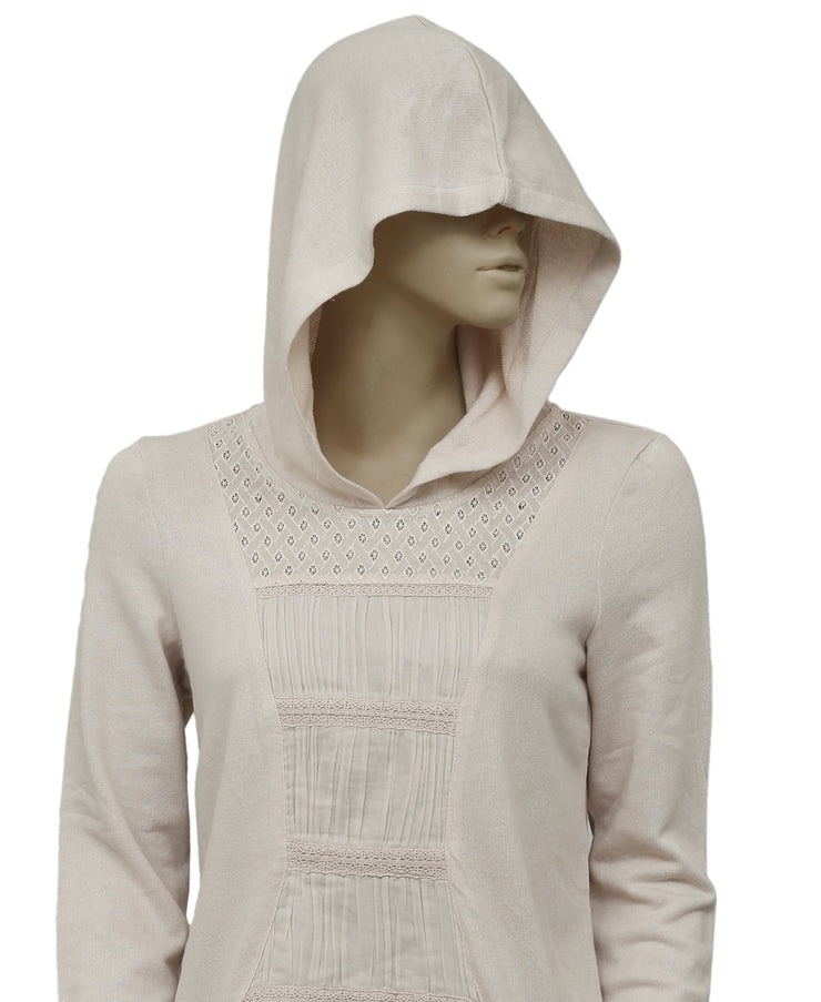 Eloise Anthropologie Lacy Hooded Peplum Pullover Blouse Top S