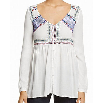 Jachs Girlfriend Womens White Embroidered Tunic Top M