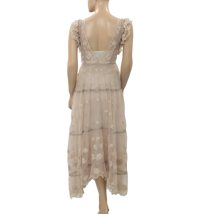 Ulla Johnson Floral Embroidered Beige Maxi Dress Asymmetrical Sheer M