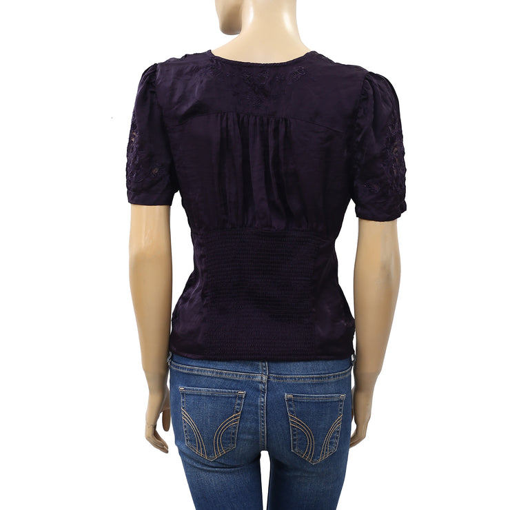 Free People Amor Amor Silky Purple Blouse Top M